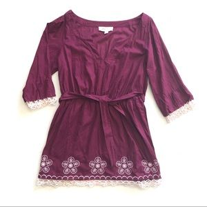 Lilka Plum Purple Cotton Robe Cover Up Large